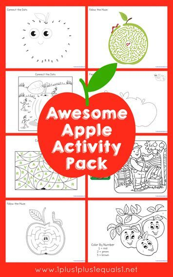 Awesome Apple Theme Activity Pack ~  FREE apple connect the dots, mazes, trace and color, finish the picture, color by number and more!
