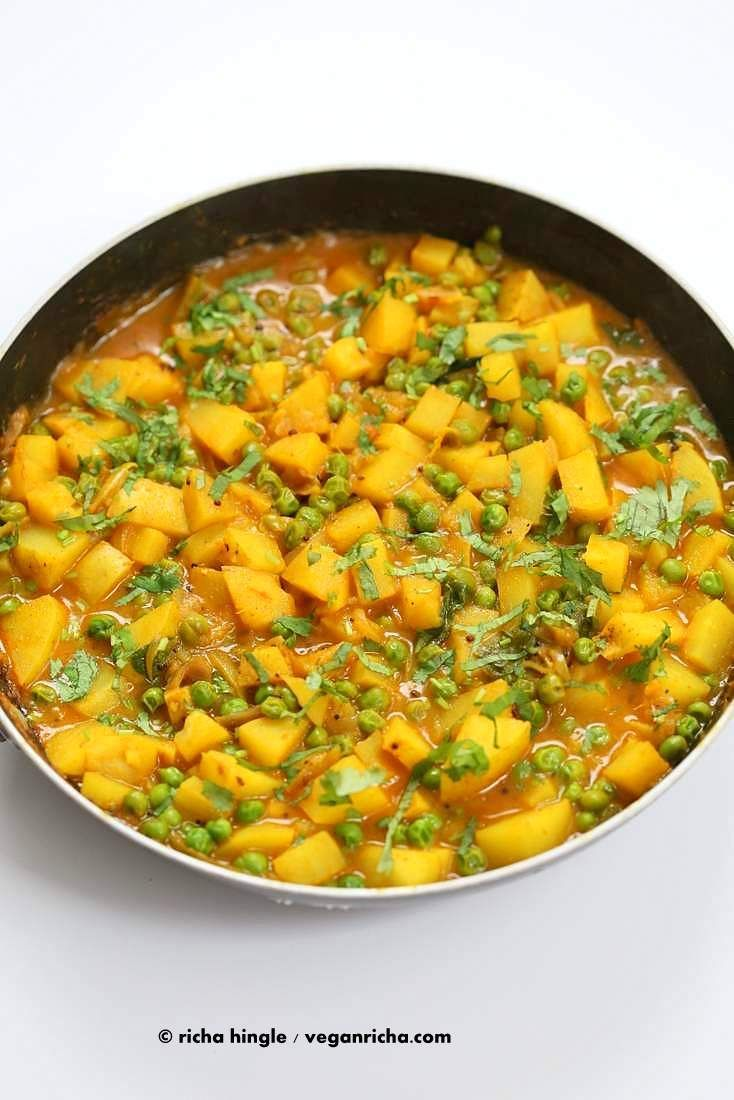 Vegan Bombay potatoes and Peas Recipe. Ready in 30 minutes. Easy Potato Pea Curry. Add greens, use sweet potato for variation. Vegan Glutenfree Indian Recipe