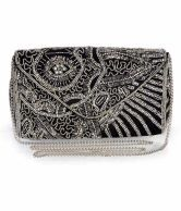 Diwaah Black Silver Embellished Clutch. Just for Rs 1999/-