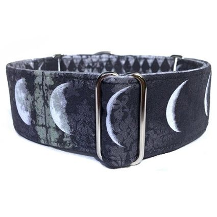 A black and dark gray grunge martingale dog collar with phases of the moon.