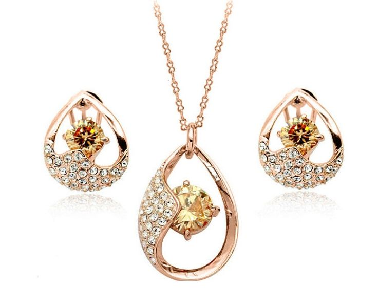 $9 for an 18 Karat Gold Dipped Necklace & Earring Set, Made with Swarovski Elements