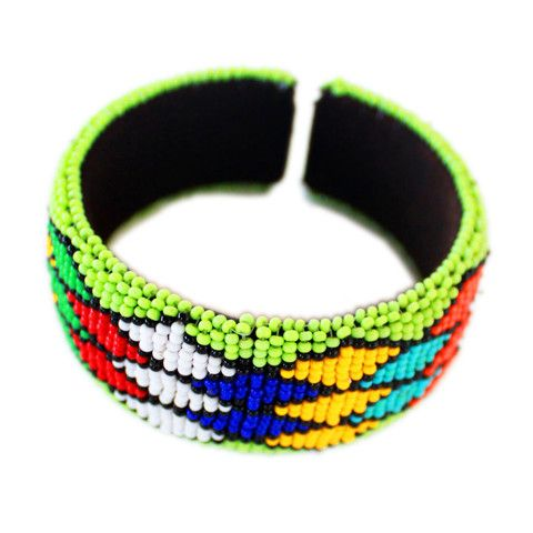 Lime Green Zulu beaded bangle