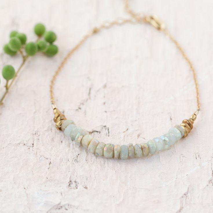 Stone & Gold Bracelet in Spa+Accessories JEWELRY Bracelets+Rings at Terrain