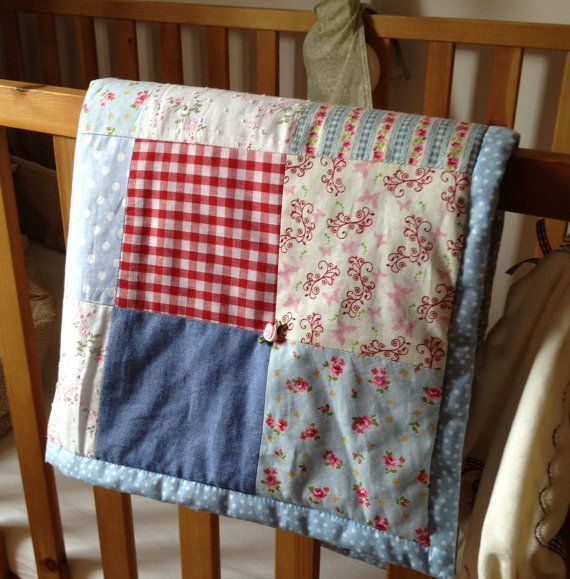 Handmade Baby Cot Bed Quilt/Blanket from di PoppyandPrimrose