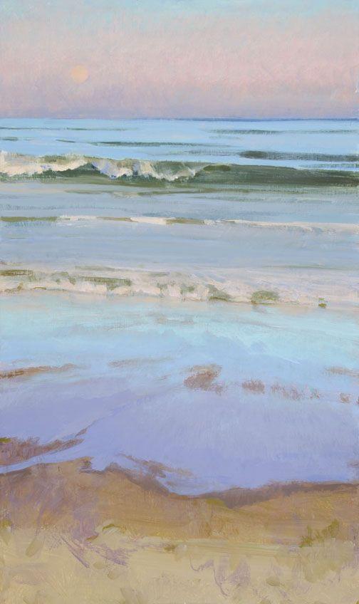Marcia Burtt    Late Sun, Moonrise    acrylic  30×18 inches. Beautiful colors