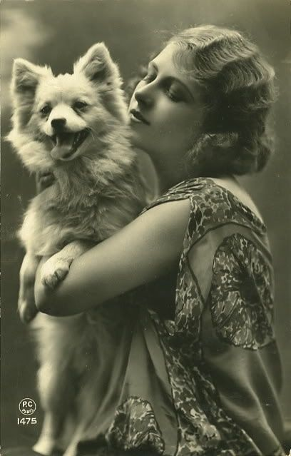 Beauty and the pup. Vintage photo.