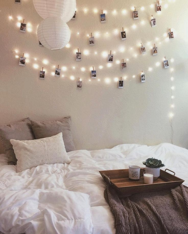Dorm room fairy light wall