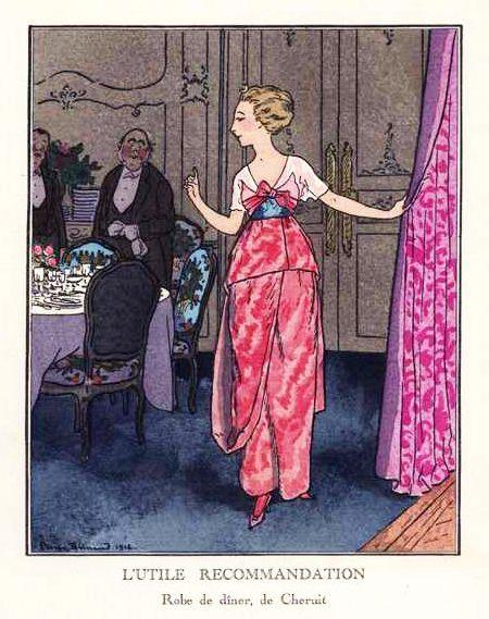Les Planches Disponibles dans la Gazette du Bon Ton Présentaient les Créations des Couturiers de l'Epoque, Considérés comme 'Soutiens' et Fournissant un Modèle Exclusif par Numéro comme Louise Chéruit, ici en 1912