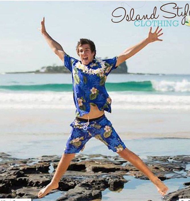 Groovy 2 piece hawaiian shirt and shorts set. Perfect party clothing for schoolies, spring break, o-week or luau.