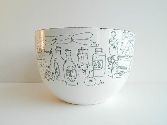 Scandinavian Modern Enamel Bowl with Mid Century by MonkiVintage, $72.00