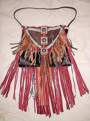 Handmade Boho Hippie Gypsy Vintage Leather Suede Fringe Handbag Purse
