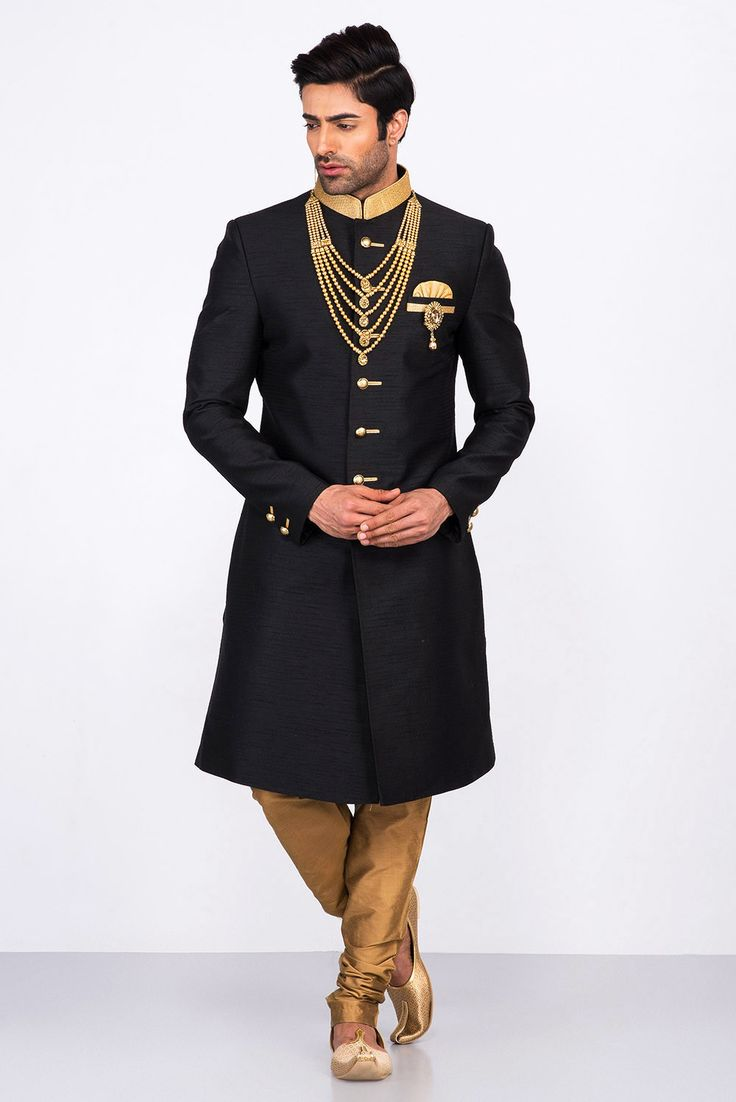MFS black silk achkan with unique gold churidar