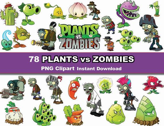 Instand DL 78x Plants VS Zombies clipart printable by PishPesh2