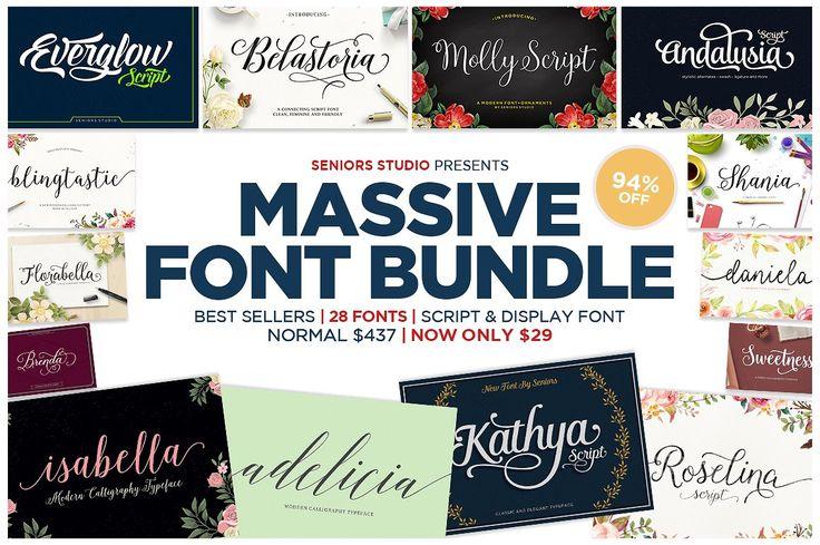 94% OFF - Massive Font Bundle by Seniors on @creat…