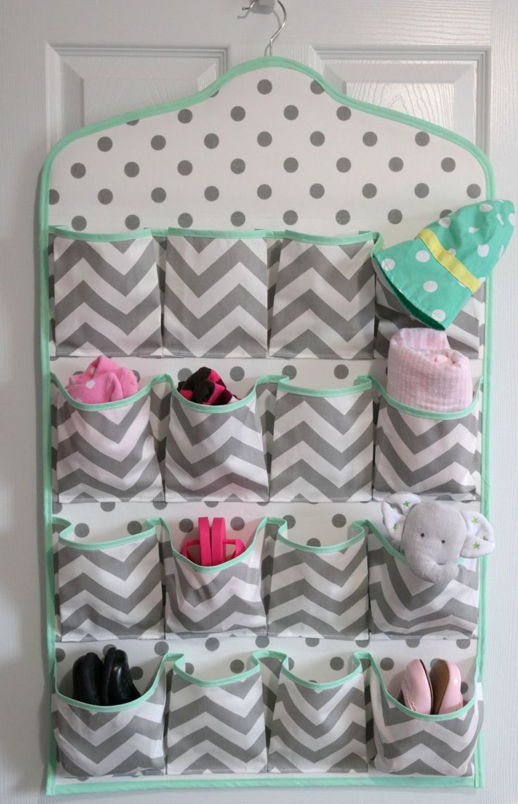 SALE!!! Mint & Gray Chevron Baby Nursery 16-Pocket Over the Door Baby Shoe Organizer - Hanging Shoe Rack - Nursery Decor - Baby Shoe Storage by TheSilverButterfly on Etsy https://www.etsy.com/listing/207379267/sale-mint-gray-chevron-baby-nursery-16