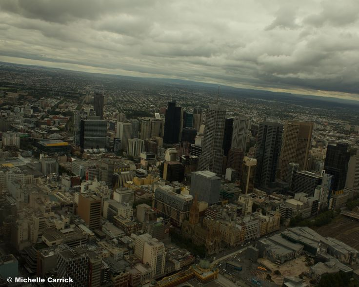 Melbourne Skyline from The Eureka Skydeck 88 Tower. - Melbourne, Victoria, Australia.