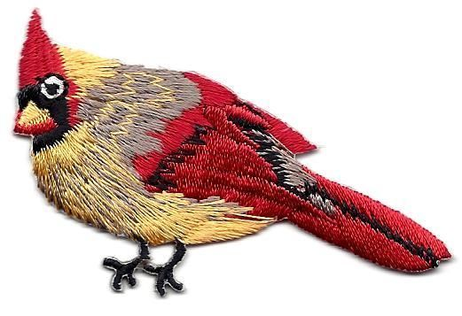 BIRDS - CARDINAL, FEMALE, RED, BLACK, TAN & GOLD/ Iron On Embroidered Applique