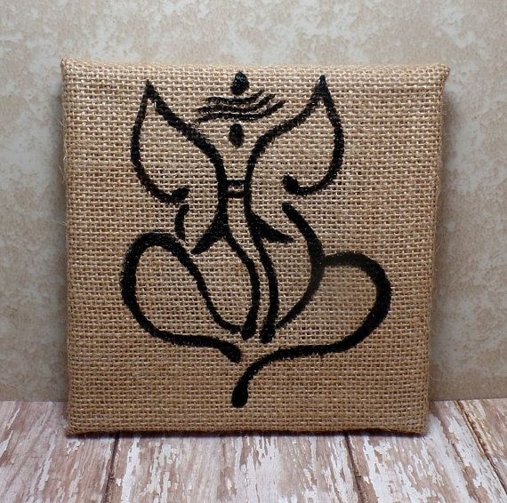 Ganesha Painting On Burlap Canvas 6 x 6 by SpiritualPathways $10.00