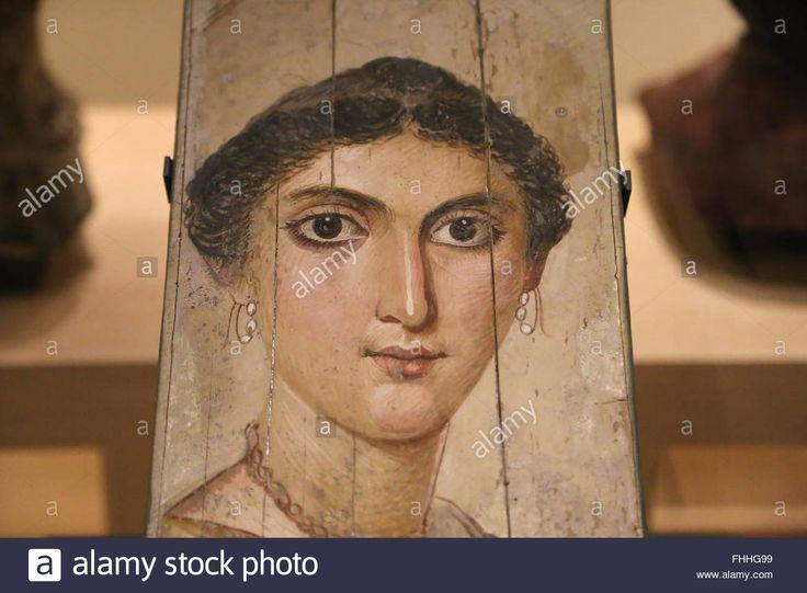 Mummy portrait. Panel painting. Young woman. 2nd century AD. Memphis, Egypt. Roman times. Louvre Museum. Paris. France. Stock Photo