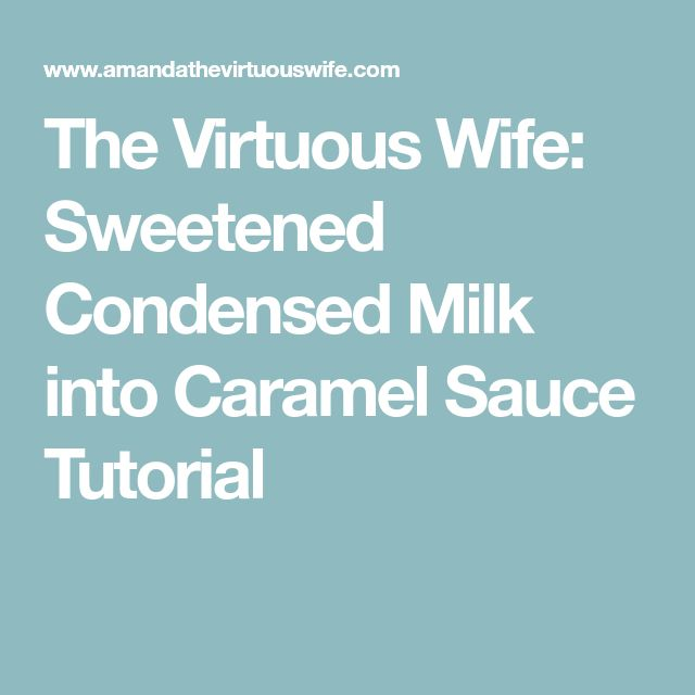 The Virtuous Wife: Sweetened Condensed Milk into Caramel Sauce Tutorial