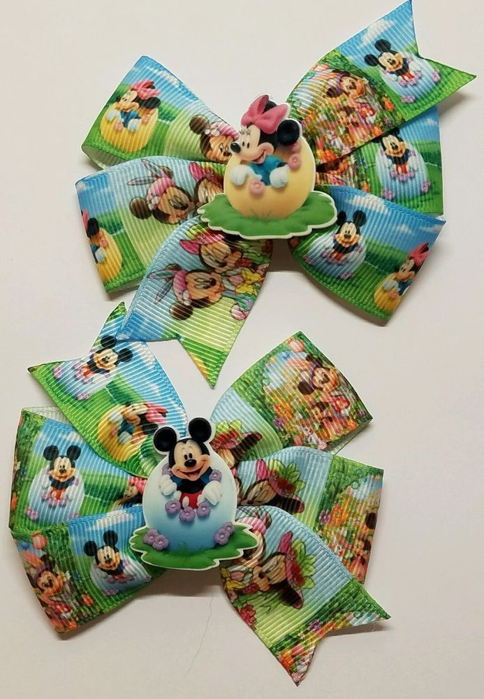 2 Easter / Minnie and Mickey Mouse Inspired Hair Bows/ Boutique Pigtail Bows    #Unbranded