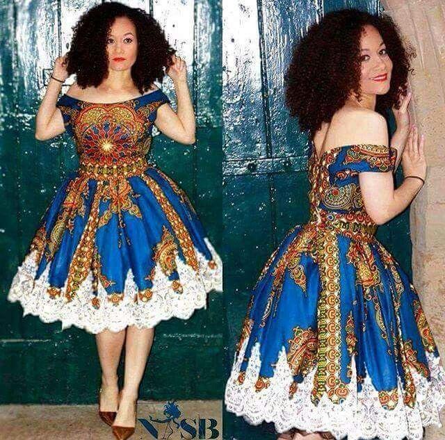 Chitenge dress with lace bottom. Kanyget fashions +