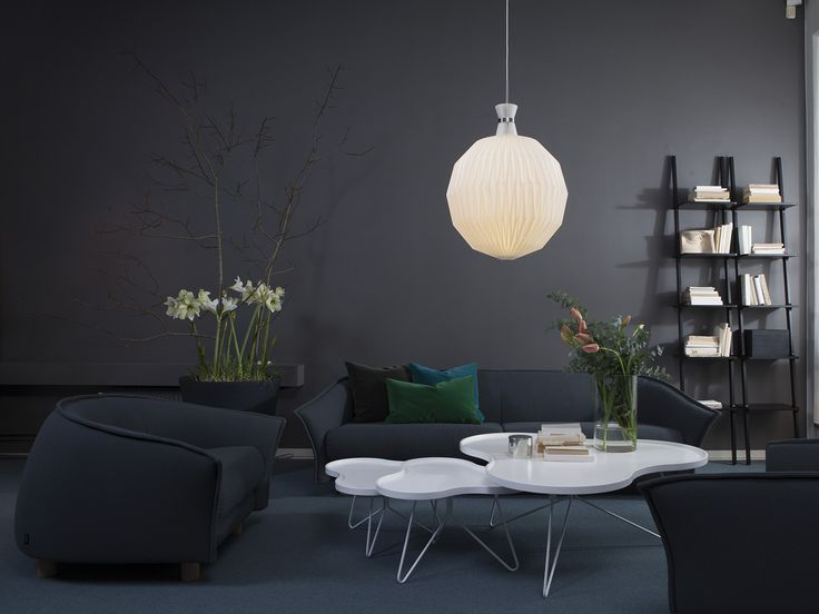 Swedese showroom Stockholm Grace sofa  - Grace easy chair Flower table - Libri