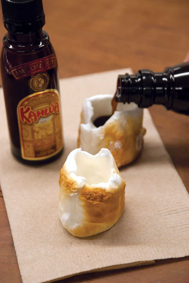 Roasted Marshmallow Kahlua Shots! - Roast & cool completely, delicately hollow-out the middles, & fill with liqueur of choice.