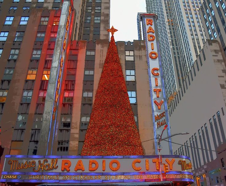 Festive Christmas decorations at Radio City Music Hall in ...