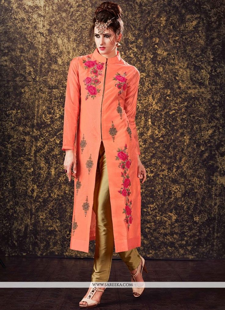 Add grace and charm for your appearance in this beautiful peach art silk readymade churidar suit. This beautiful dress is displaying some incredible embroidery done with embroidered and zari work. Com...