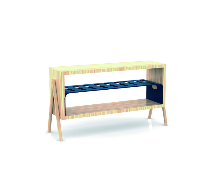 """""""Achille"""", mobile multifunzionale in legno e ferro la cui parte metallica interna è estraibile diventando un tavolino a se stante. By Luca Toniolo #DesignFor #design #furniture"""
