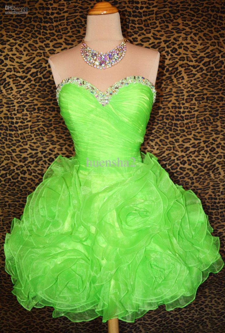 -2013 Lime Green SHORT PARTY COCKTAIL EVENING PROM WEDDING GOWN DRESS