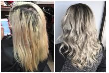"""""""This long time client of mine is always ready for a change,"""" says Heather Yacenda (@heatheryacendahair), Studio H Salon, Wichita, KS. """"We had been lightening her level-3, color-treated hair for almost a year. After we achieved a blonde, it was too much upkeep on her roots, coming in every four weeks. We decided on an ashy balayage so it would fade beautifully in between appointments and added a darker root shade so she could go eight weeks in between salon visits."""""""