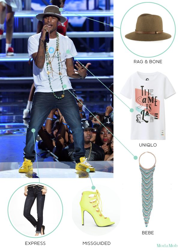 Girl Versions of Pharrell Outfits http://www.modamob.com/pharrell/3-girl-versions-pharrell-outfits.html