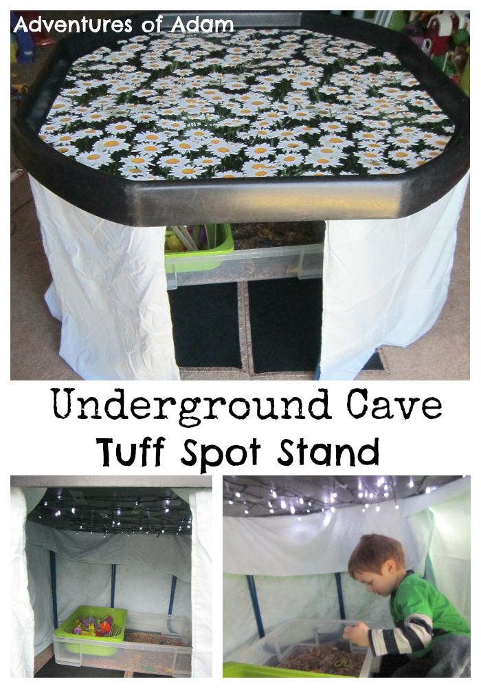 U is for Underground Cave Tuff Spot Stand  Create an Underground Cave with lights and insects | http://adventuresofadam.co.uk/underground-cave-tuff-spot/