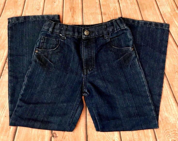 Boys denim Jeans, elastic waist, age 7/8 Cherokee button zip up 2 front pockets