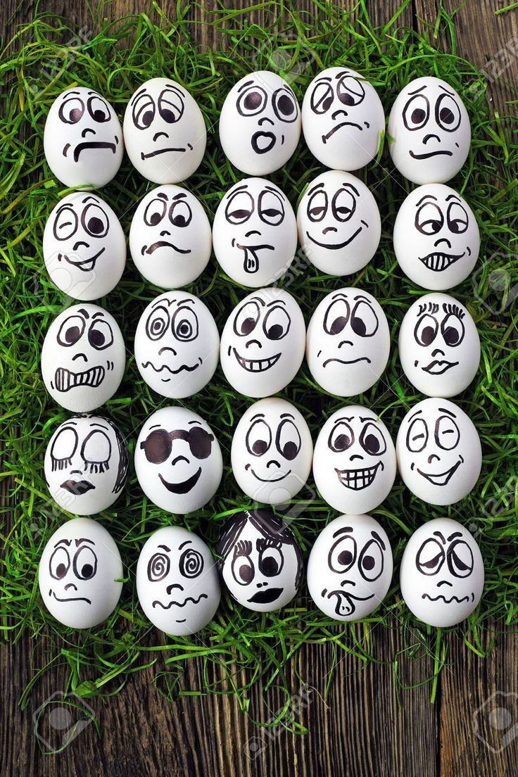 White Eggs And Many Funny Faces Stock Photo, Picture And Royalty Free Image. Image 14166728.