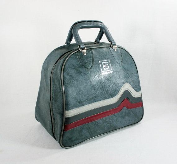 Vintage Brunswick Gray Vinyl Bowling Bag By Vintagefindsetcetera 20 00