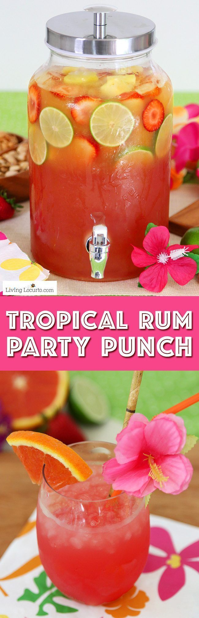 Summer Luau Party Ideas! Tropical rum punch is a delicious summer cocktail recipe for a luau party or to sip by the pool! A mix of juice and coconut rum for a pretty layered drink. (Pour Drink Coconut Rum)