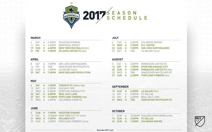 Sounders FC 2017 Schedule Wallpaper | Seattle Sounders FC