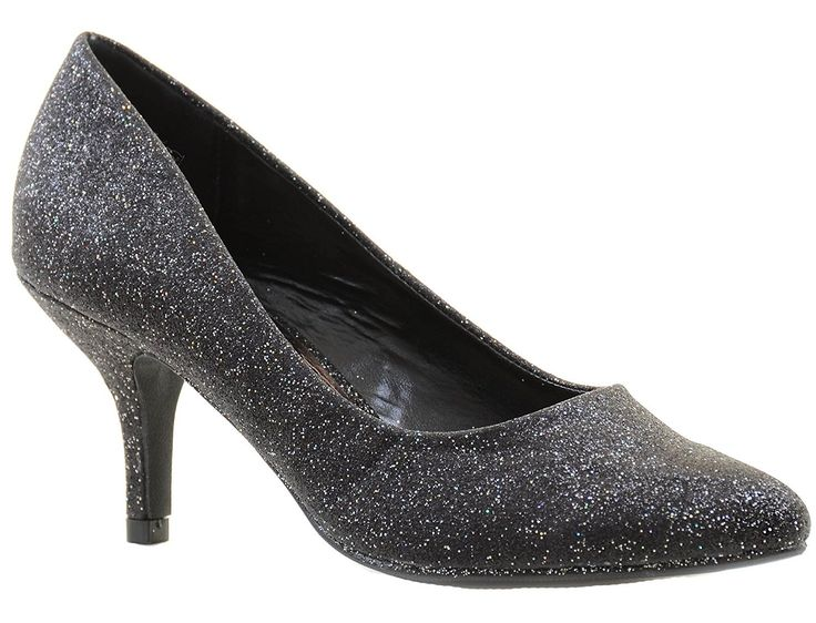 Glitter Pointy Toe Low Kitten Heel Women's Shoes Pumps