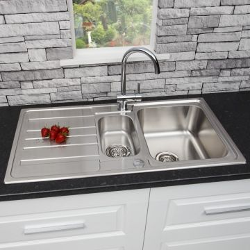 Sauber Stainless Steel Kitchen Sink 1.5 Bowl & Architeckt Cascade Kitchen Tap