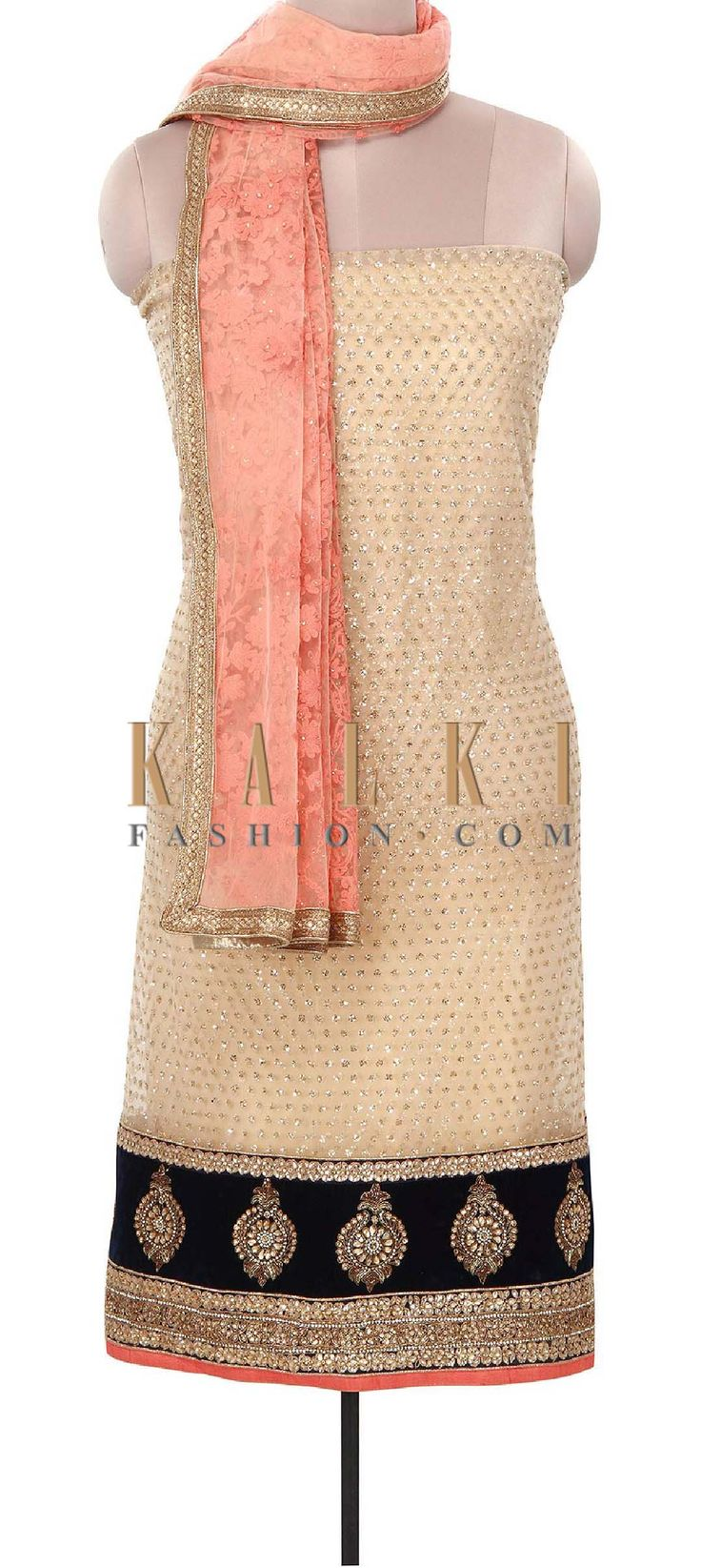 Buy Online from the link below. We ship worldwide (Free Shipping over US$100). Product SKU - 316059. Product Price - $279.00. Product Link - http://www.kalkifashion.com/gold-unstitched-suit-adorn-in-sequin-embroidery-only-on-kalki.html
