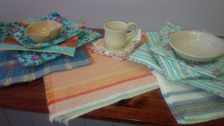 Hand Sewn/Made Microwave Bowl Pot Holders ~ set of 3 ~ and Hand Woven Placemats ~ a variety of colours & patterns.  Hand Made right here in Perth, Ontario.   Available at Mariposa Design 73 Foster Street, Perth, Ontario K7H 1R9