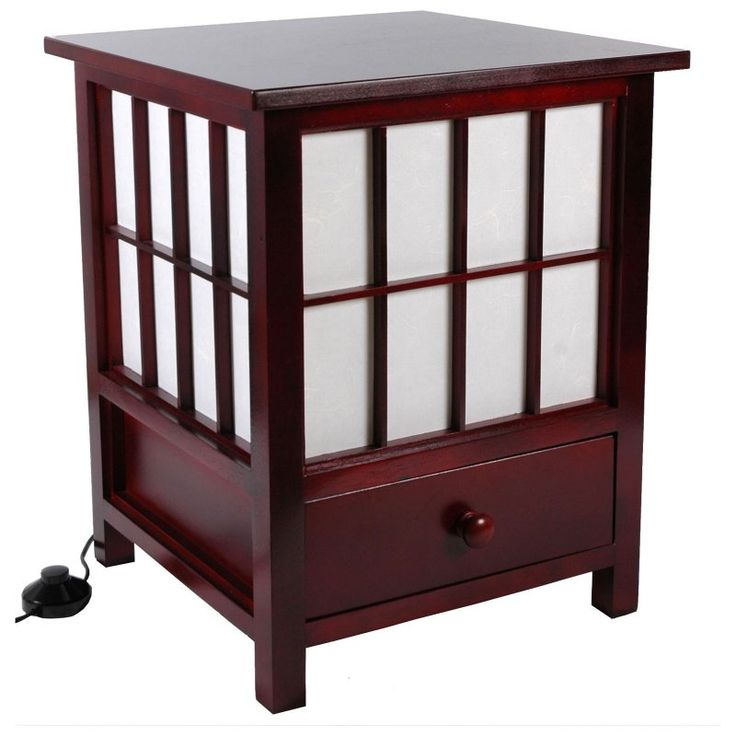 Oriental Furniture Hokkaido End Table Lamp with Drawer - LMP-HOKK3-ROSEWOOD