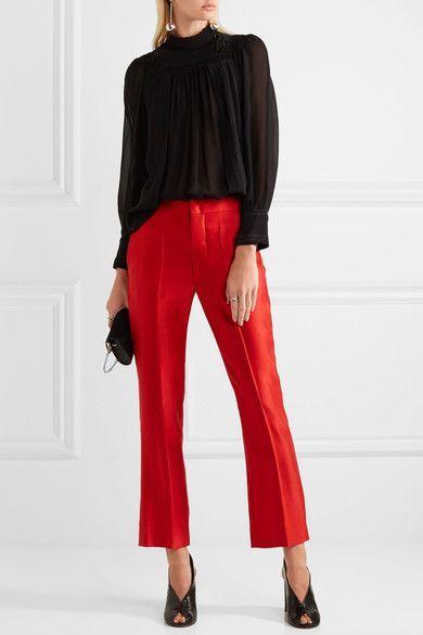 Isabel Marant - Roan Matte-satin Pants - Red - FR40