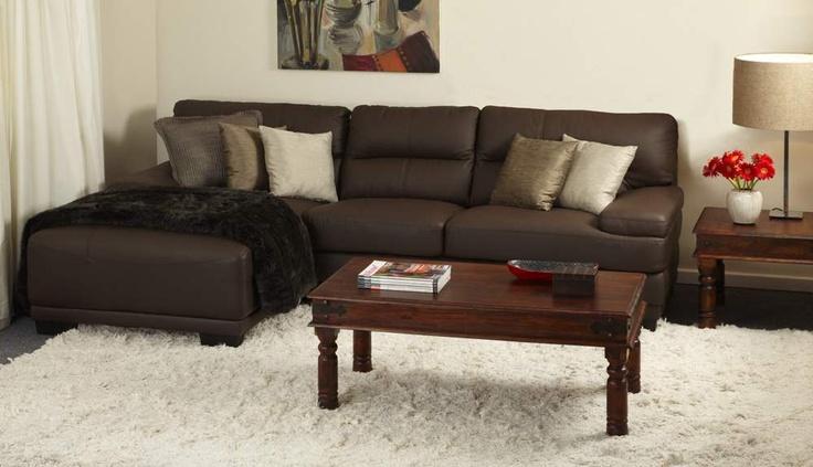 Debrano Genuine top grain leather corner lounge suite