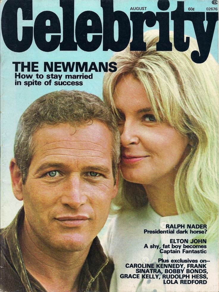 Husband and wife, Paul Newman and Joanne Woodward on the cover of Celebrity magazine, August 1975.