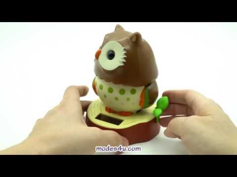 Cute Animal Figure Swaying Solar Power Bobble Head With Red Brown Tree Stump Stand With Green Leaf Embellishment Dark Brown Owl Bobble Head Bobble Solar Power