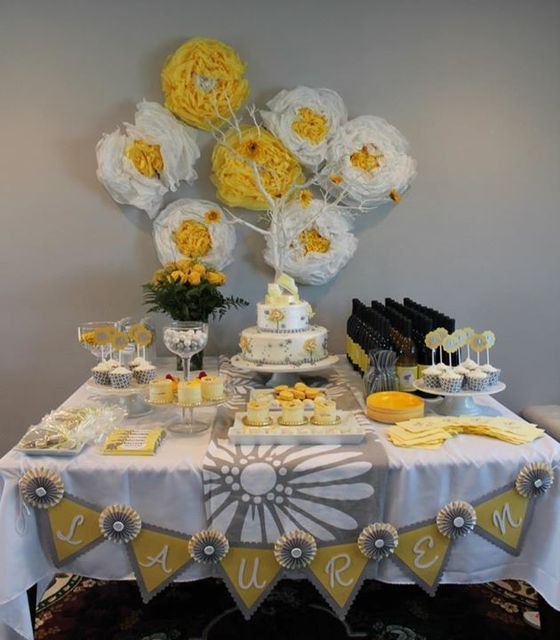 Lovely dessert table at a Yellow and Gray Baby Shower!   See more party ideas at CatchMyParty.com!  #partyideas #babyshower